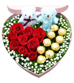 玫瑰巧克力花盒(图片)-爱慕鲜花速递