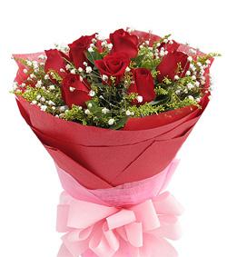 9枝红玫瑰圆形花束(图片)