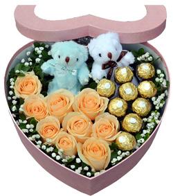 香槟玫瑰巧克力花盒(图片)
