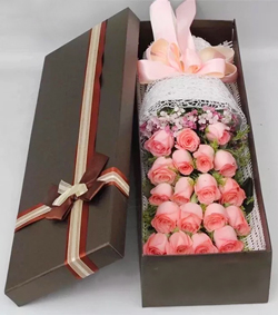 粉玫瑰花盒(图片)-爱慕鲜花速递
