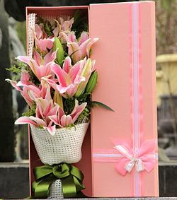 粉百合花盒(图片)